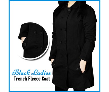 Black Ladis Trench Fleece Coat