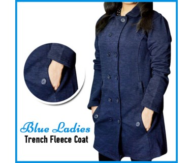 Blue Ladis Trench Fleece Coat