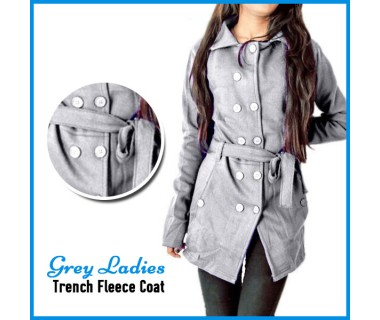 Grey Ladis Trench Fleece Coat