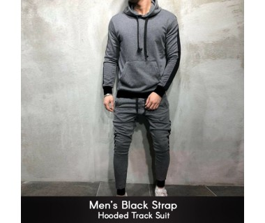 Mens Black Strap Hooded Track Suit