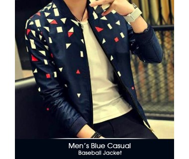 Mens Blue Casual Baseball Jacket