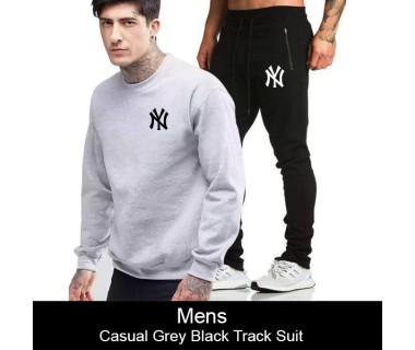 Mens Casual Grey Black Track Suit