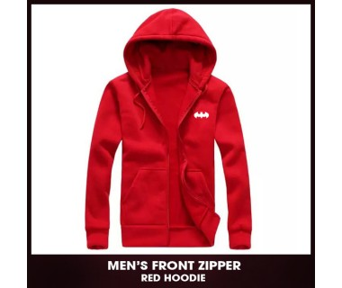 Mens Front Zipper Red Hoodie