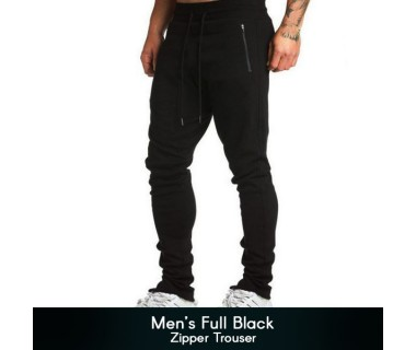 Mens Full Black Zipper Trouser