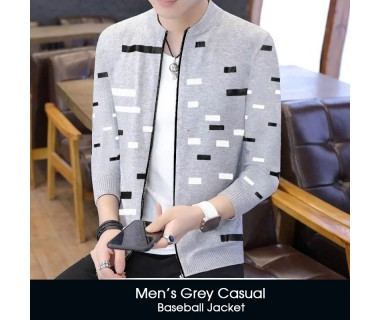 Mens Grey Casual Baseball Jacket
