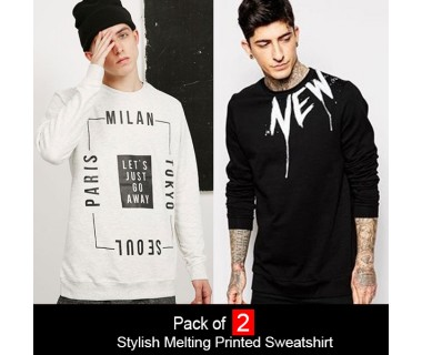 Pack of 2 Stylish Melting Printed Sweatshirt