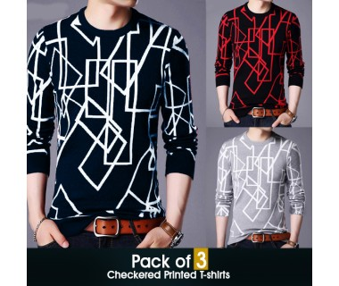 Pack of 3 Checkered Printed T-shirts