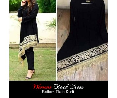 Womens Black Cross Bottom Plain Kurti