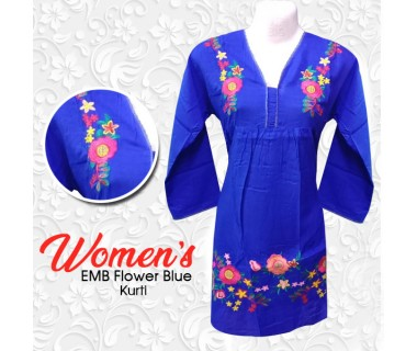 Womens EMB Flower Blue Kurti