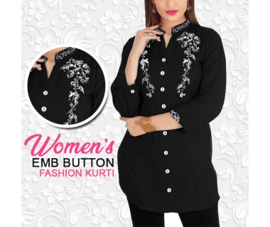 Womens Emb Button Fashion Kurti
