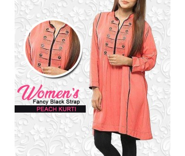 Womens Fancy Black Strap Peach Kurti