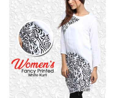 Womens Fancy Printed White Kurti