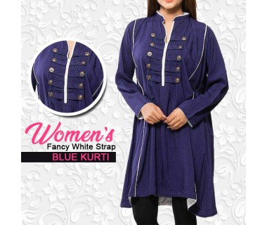 Womens Fancy White Strap Blue Kurti