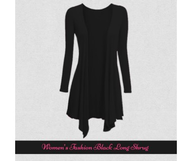 Womens Fashion Black Long Shrugs