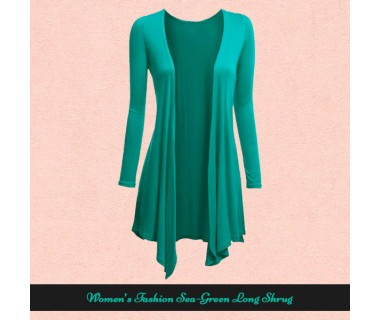 Womens Fashion Sea-Green Long Shrugs