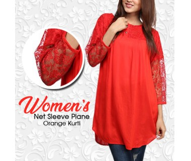 Womens Net Sleeve Plain Orange Kurti