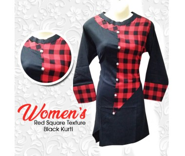 Womens Red Square Texture Black Kurti